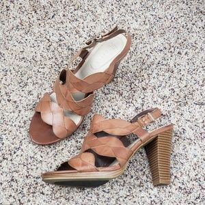 NICKELS Faux Tan Leather Braided Heel Sandals
